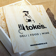 Wooden 3 bottle box with branded printing to the lid