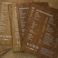 Wooden Printed Menu - onto distressed 4mm oak veneered mdf