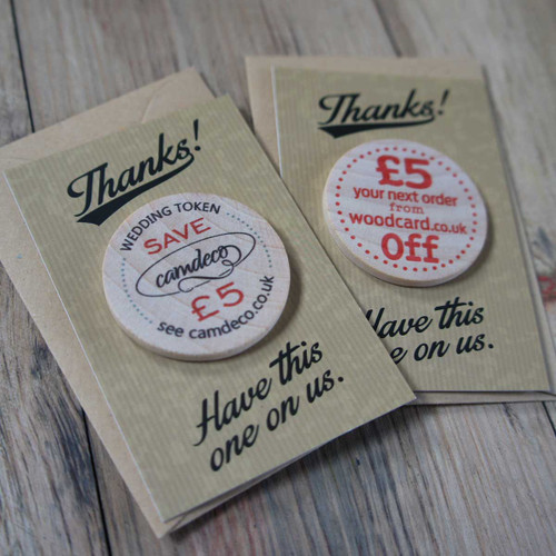 Wooden Printed Token with Printed Backing Card & Envelope