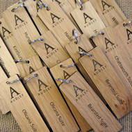 Engraved Oak wood keyrings - 5mm to 6mm thick - shown with screw connector