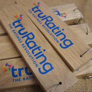 Printed oak keyrings (19mm thick) available in a variety of sizes