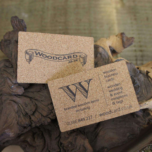 Cam graphic wooden printed business card invitations uk cork business cards printed on 15mm cork colourmoves