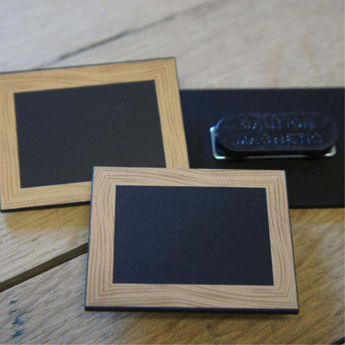 Printed blackboard wooden frame badges - with room to write names within the printed wooden frame (with a chalkboard pen). Magnetic or pin attachments.