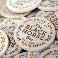 Engraved Wooden Tokens - ideal drink and beer tokens