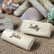 Engraved driftwood badge - each is personalised with a single name.