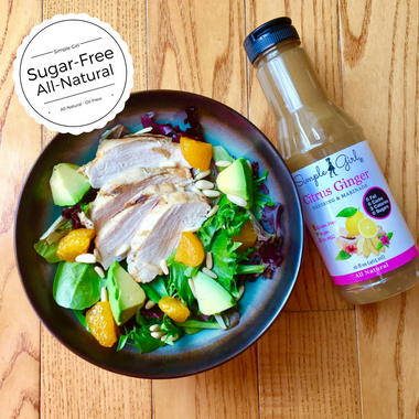Yum! HEALTHY Salad topped with all-natural and sugar-free and oil-free Citrus Ginger dressing.