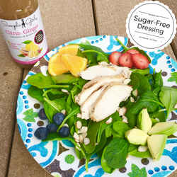 Salad for most diets topped with Citrus Ginger sugr-free and all-natural dressing that is sweetened with stevia.