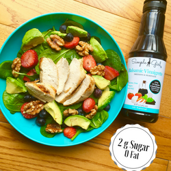 Our balsamic vinaigrette has only 2 grams of sugar that is natural sugar from the grapes used to make our low calorie balsamic vinaigrette.