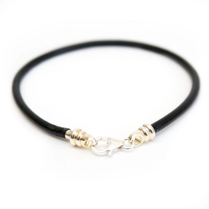 Bracelet - 3mm Black Leather Cord/Sterling Silver
