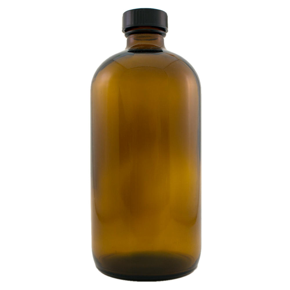 16 fl oz Amber Glass Bottle w/ Phenolic Cap - 60 pcs/Case