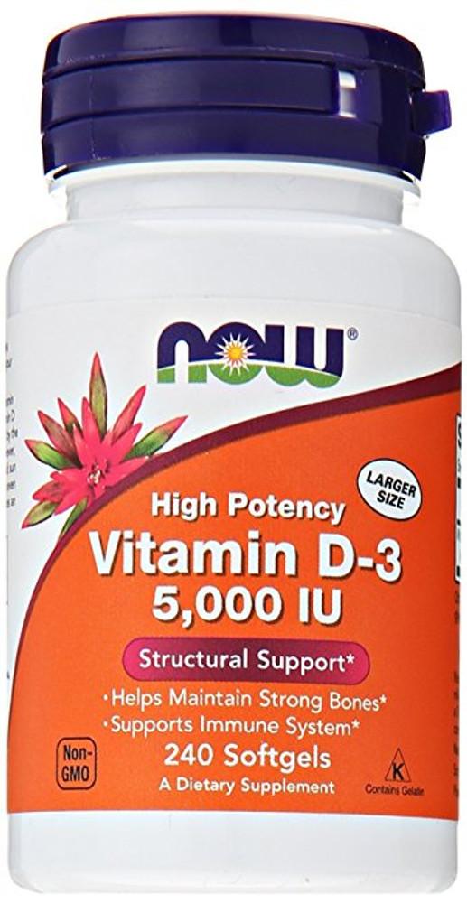 Vitamin D-3 5000 IU 240 Softgels - NOW Foods