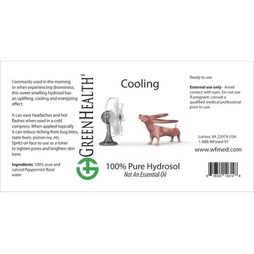 Cooling hydrosol ingredient label