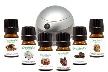 Holiday Fragrance Set 5ml  GreenHealth.  Oatmeal Cookie Dough, Chocolate, Scotch Pine & Cranberry, Creamy Nutmeg, White Poinsettia, Coffee Cake & Spice, Silver Sparoom Aromafier personal fan diffuser