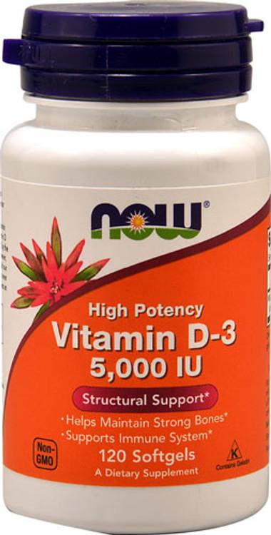 Vitamin D-3 5000 IU 120 Softgels - NOW Foods