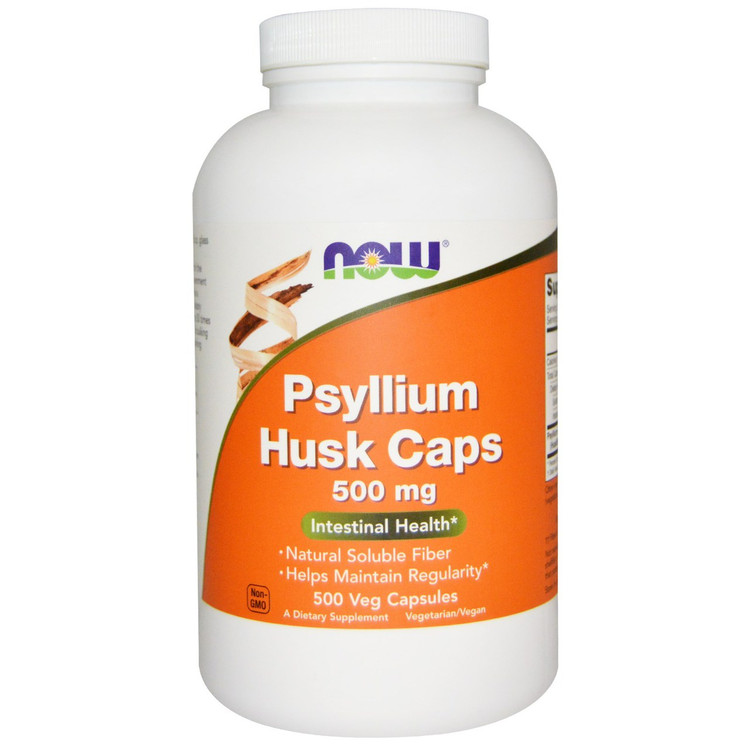 Psyllium Husk (Caps) 500 mg 500 Capsules - NOW Foods