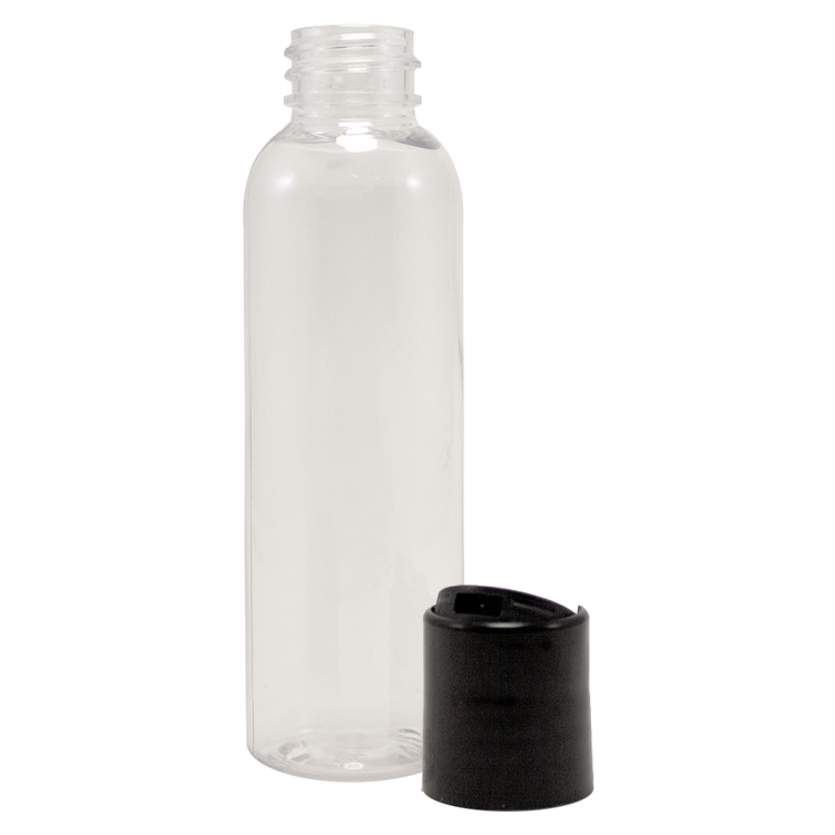 2 fl oz Clear Plastic Bottle w/ Black Dispenser Lid