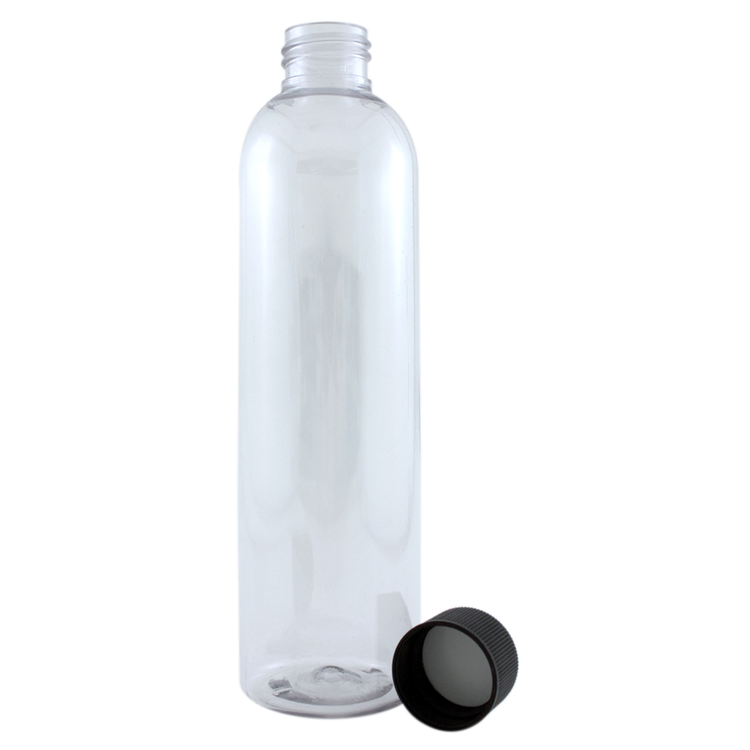 8 fl oz Clear Plastic Bottle w/ Black Cap