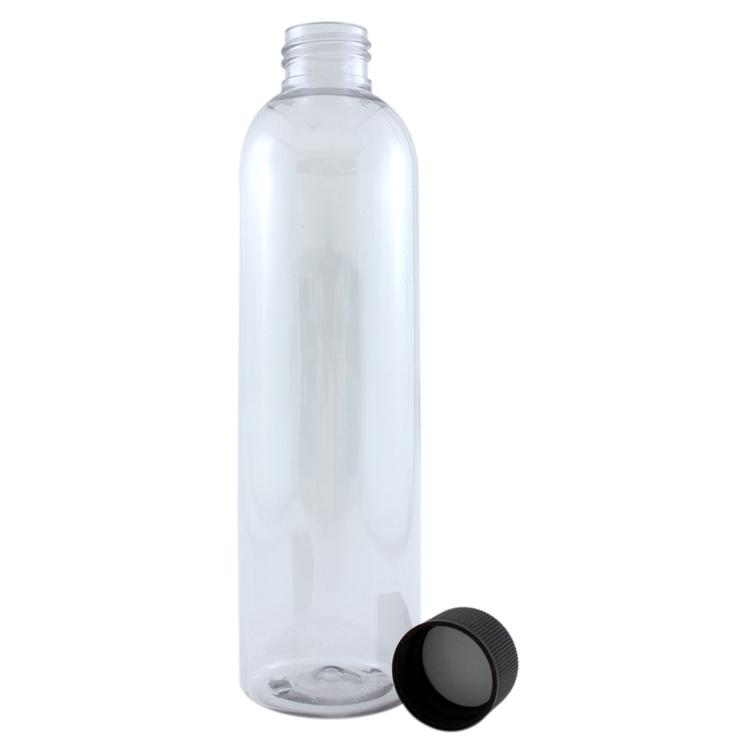 8 fl oz Clear Plastic Bottle w/ Black Dispenser Lid