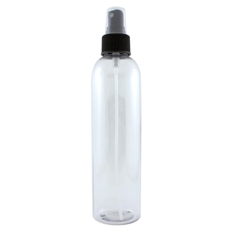 8 fl oz Clear Plastic Bottle w/ Black Spray Cap
