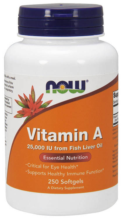 Vitamin A (Fish Liver Oil) 25000 IU 250 Softgels - NOW Foods