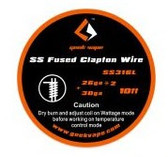 Geek Vape SS Fused Clapton Wire (SS316L 26GA*2 + 30GA) 10ft 1pc (MSRP $10.00)