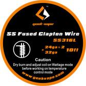 "Geek Vape ""SS Fused Clapton Wire"" (SS316L 24ga*2 + 32ga) 10ft 1pc (MSRP $9.00)"