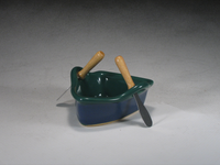 Green & Blue Boat Dip Pot