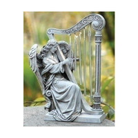 Angel with Harp Chimes Garden Statue