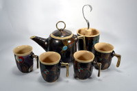 Dark Green Antique Tea/Coffee pot w/ 4 Mugs + Silverware Holder