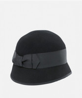 Women's Wool Felt Bow Cloche Black