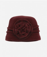 Women's Wool Flower Cap - Wine