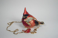 Carrie Cardinal Jewelry Box with Necklace