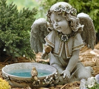 Solar Powered Outdoor Angel Birdbath