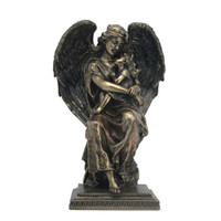 Guardian Angel Sitting and Holding a Little Girl
