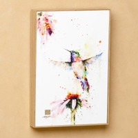 "Dean Crouser ""Pee Wee"" Hummingbird with Flower Wall Art"