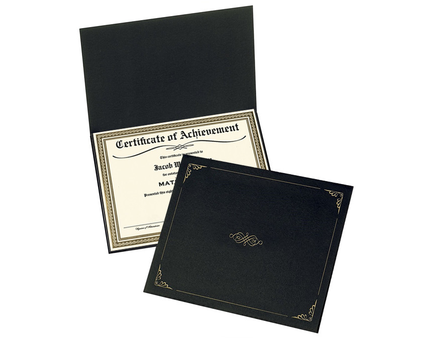 Certificate of Achievement in folder
