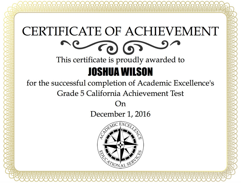 Paper california achievement test certificate of achievement fandeluxe Images