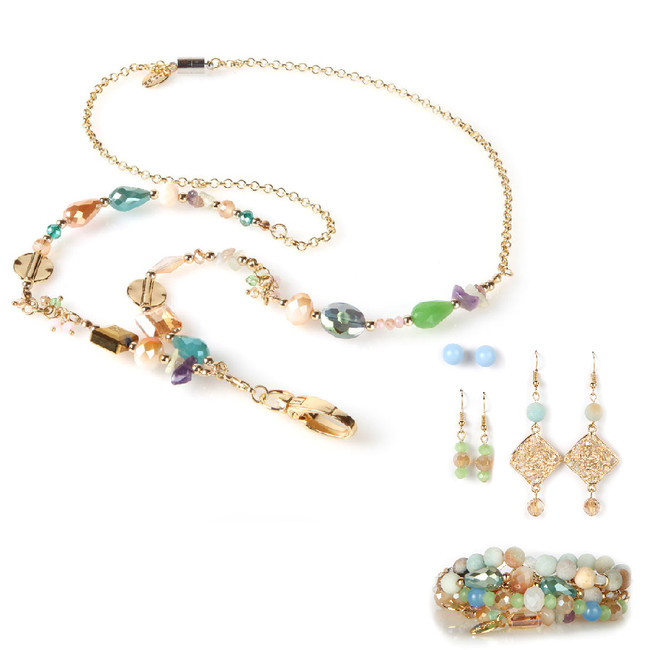 Pastel Party Chain Fashion Lanyard with Earrings & Bracelets, 8 pc set