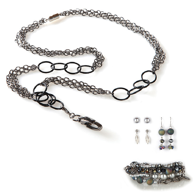 Greta Fashion Lanyard with Earrings & Bracelets, 8 pc set