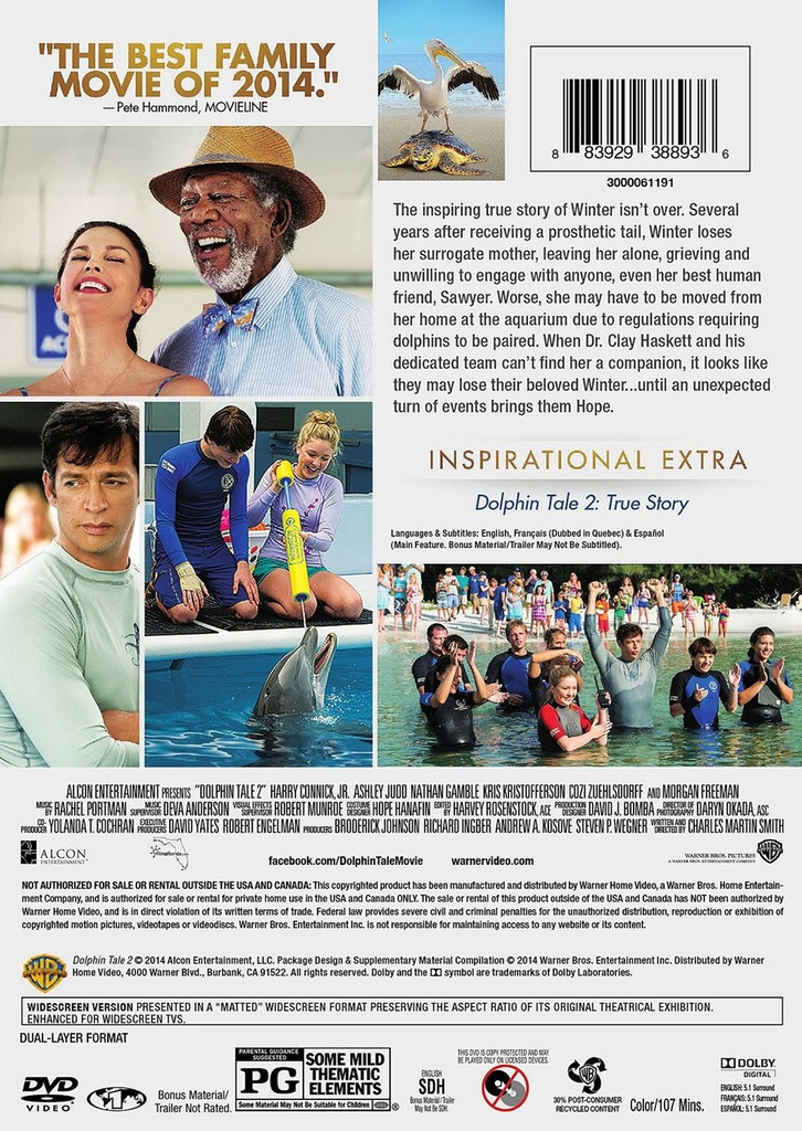 Dolphin Tale 2 Movie DVD and Blu-Ray Back Cover Information