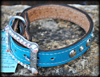 "Lizard Hide Dog Collar 13-15.5"" In Stock"