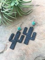 Cactus Earrings-Black Gator & Rose