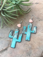 Cactus Earrings-Aztec & Pale Pink Rose