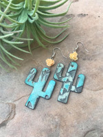 Cactus Earrings-Aztec & Light Orange Rose