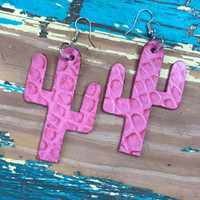 Cactus Earrings-Pink Gator