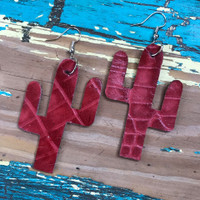 Cactus Earrings-Red Gator