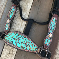 Turquoise Floral & Copper Cheek Halter