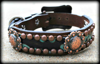 Hide With Conchos Dog Collars 10-21""