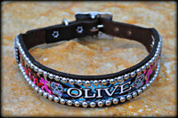 Sugar Skull Dog Collar With Name 10-21""