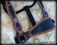 Black Gator Indian Concho Cheek Halter